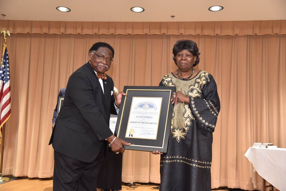 Jannie Harriot accepting the Palmetto Award on behalf of the South Carolina African American Heritage Commission.